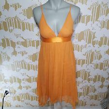 BANANA REPUBLIC Size 4 Orange Crepe Silk Empire Babydoll Asymmetrical Dress
