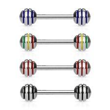 4 lot STRIPED Straight Barbells Tongue Rings Nipple Bar Studs Piercing Jewelry