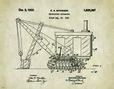 Excavator Patent Art Print Poster  Construction Equipment Vintage Parts  PAT237