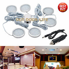 6x 12V Interior LED Spot Lights For VW T4 T5 Camper Van Caravan + Car Charger UK