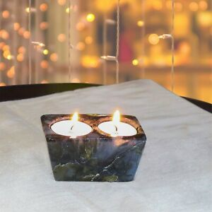 Candle Tea Holder Labradorite Natural Gemstone Home Table Décor Gift New House
