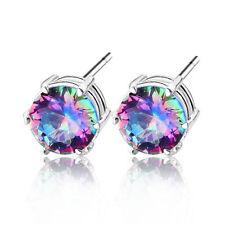 Women Fashion Rainbow Topaz 925 Silver Ear stud Hoop Earrings Wedding Jewelry