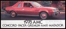 1978 American Motors AMC Car Sales Brochure AMX Pacer Gremlin