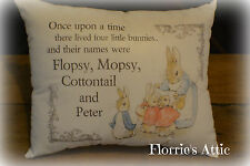 HANDMADE CUSHION ~ BEATRIX POTTER ~ FLOPSY, MOPSY, COTTONTAIL, PETER RABBIT