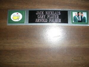 NICKLAUS-PLAYER-PALMER NAMEPLATE FOR AUTOGRAPHED BALL DISPLAY/FLAG/PHOTO