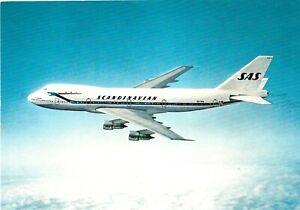 Vintage Airplane Chrome Postcard SAS Scandinavian Airlines Boeing 747-B