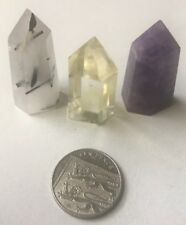 UK NATURAL QUARTZ WITH TOURMALINE CITRINE AMETHYST CRYSTAL CLUSTER POINT OBELISK