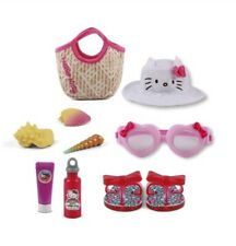 """My Life As Hello Kitty 9 Piece Beach Play Set for 18"""" Doll (Hat, Sandals)"""