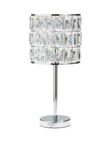 Rosas Glass Drum Table Lamp With Glass Beads & Chrome Base