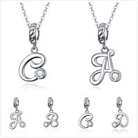 Jewel Tie 925 Sterling Silver CZ Cubic Zirconia Letter C with Lobster Clasp Pendant Charm 8mm x 33mm