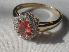 9K BEAUTIFUL RARE PADPARADSCHA SAPPHIRE & ZIRCON RING CERT OF AUTHENTICITY ~ N -