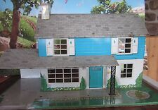 "VINTAGE TOY 26"" X 15"" X 14"" HIGH LARGE MARX TIN DOLL HOUSE BLUE"
