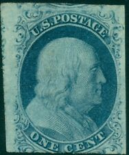 US #7v 1¢ blue, type II, Plate 3, og, LH, scarce & VF, PSE cert Scott $9,000