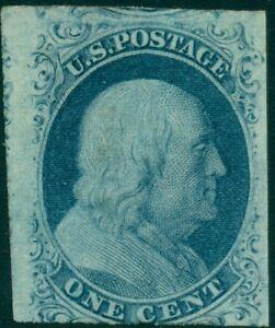 US #7v 1¢ blue, type II, Plate 3, og, LH, scarce & VF, PSE cert Scott $2,000+