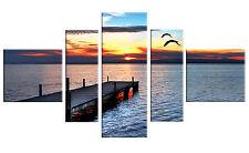 X LARGE SUNSET SEA PIER BRIDGE BLUE CANVAS 148cm WALL ART PICTURES MULTI 5P18