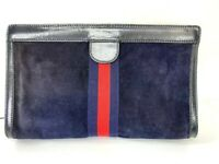 Auth GUCCI PARFUMS Vintage Sherry Clutch Bag Pouch Suede Navy Italy Y-1187