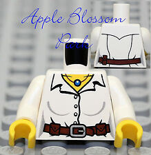NEW Lego Female WHITE MINIFIG TORSO - Girl w/Button Shirt Brown Belt & Necklace