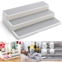 UK White 3 Tier Shelf Jar Rack Holder Cupboard Organiser Storage Kitchen Tool