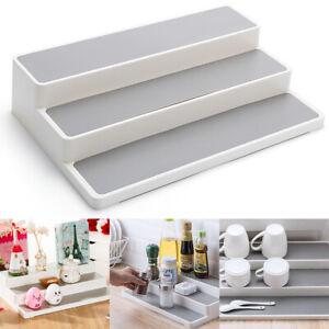 3 Steps Shelf Jar Holder Kitchen Rack Organiser Storage Cupboard Tool White Grey