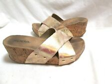 SODA Gold Metallic Criss Cross Platform Wedge Sandals 6.5M VGC