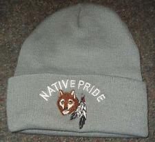 Native Pride NDN New Embroidered Grey Beane Stocking Wolf Eagle Feather Cap Hat
