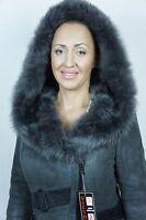 Slate Gray Sheepskin Shearling Leather Toscana Lambskin Coat Jacket Hood XS-5XL