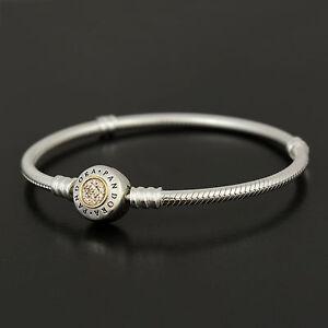 Authentic Genuine Pandora Silver 14k Signature Clasp Bracelet 590741CZ