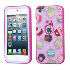 for iPod Touch 5th / 6th Gen -PINK CUPCAKES Armor Hard & Soft Rubber Hybrid Case