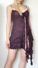 ZONE BLEUE Asymmetric Dress High-Fashion Lace No-Sleeve S-M Made in FRANCE RARE