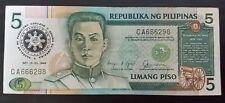 5 Pesos banknote Philippines 1986 Corazon Aquino visit to USA overprint