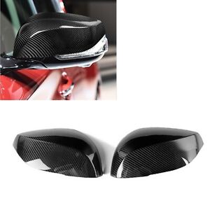 Pair Real Carbon Fiber Mirror Cover Cap For INFINITI Q50 Q70 2014-2017 Add On US