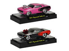 1971 PLYMOUTH CUDA 440 2 CARS SET IN BLISTERS 1/64 GROUND POUNDERS M2 81161-11D