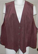 Venezia Woman Size 26/28 Brown Leather Paisley Print Vest