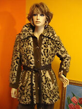 VTG TISSAVEL FRANCE RARE LEOPARD PRINT FAUX FUR COAT WITH SUEDE LIKE TRIM  M