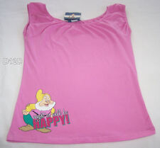 Disney Snow White Happy Ladies Pink Printed Sleeveless Top Size 8 New