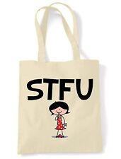 STFU SHOULDER  TOTE BAG - Shut The F**k Up Text Language Facebook Twitter