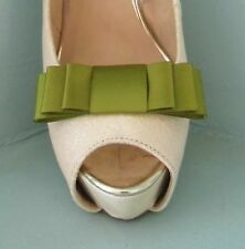 2 Moss Green Triple Bow Clips for Shoes - other colours on request