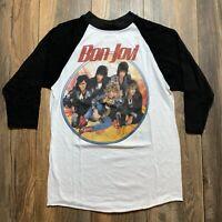 Vintage 80's Bon Jovi Slippery When Wet Tour Concert Band Tour Shirt 50/50 Sz L