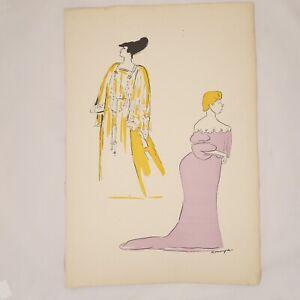 🌓 JEANNE DELVAIR (actrice) par André ROUVEYRE 38,5x56cm COMÉDIE FRANÇAISE 1905
