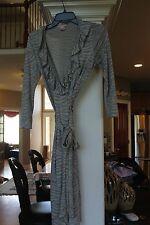 Pink Tartan Gray Zebra Stripe Silk Knit Wrap Dress Ladies sz S   (bin102)