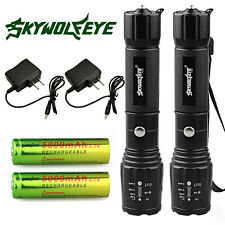 2x Police 10000Lumens LED Flashlight 18650 CREE T6 XML Torch Battery Charger USA