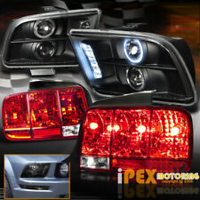 2005-09 Ford Mustang Halo Projector Black Headlights + Sequential Red Tail Light