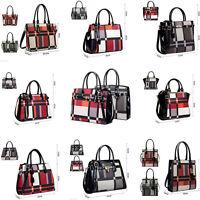 Womens Ladies Designer Tartan Checkered Large Shoulder Tote Bag Handbag