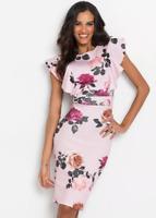 Bodyflirt UK Plus Size 22 / 24 Pale Pink Floral Print Shift Ruffle Dress NEW
