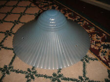 """Vintage Art Deco Style Blue Ribbed Glass Ceiling Lamp Shade-11 & 1/4"""" Across"""