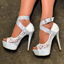 Ladies Floral Lace Platform Shoes Buckle Strap High Heels Peep toe Pumps S30372