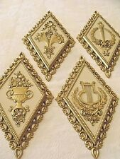 Syroco MCM Florals Wall Plaques Gold Gild Cream Vtg Set 4 Diamond Shaped Plastic