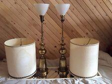STIFFEL Antique Brass Milk Glass Pair Lamps - Exquisite Hollywood Regency