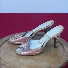 Vintage Springolator High Heels Shoes Orange Snakeskin Size 6 4�