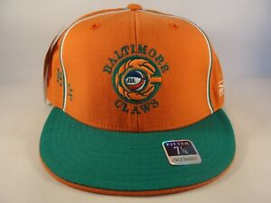 Baltimore Claws ABA Reebok Fitted Hat Cap Size 7 1/4 Orange Green